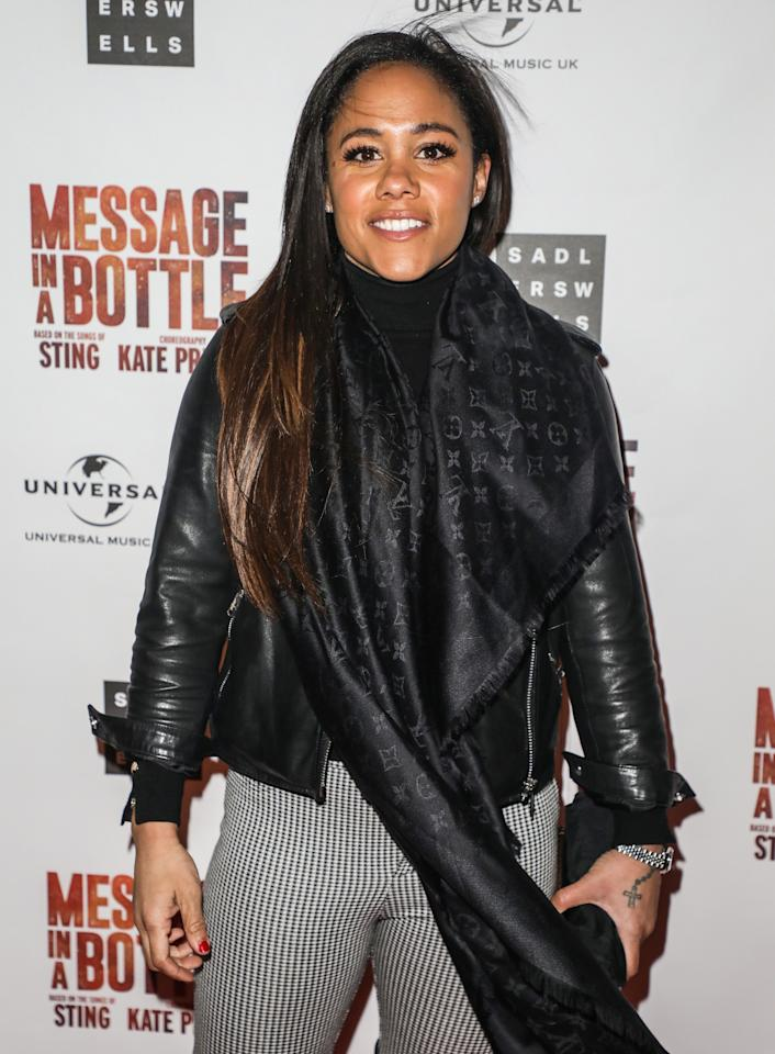 Alex Scott attending a press night for Message in a Bottle at the Peacock Theatre in London (Photo by Brett Cove / SOPA Images/Sipa USA)