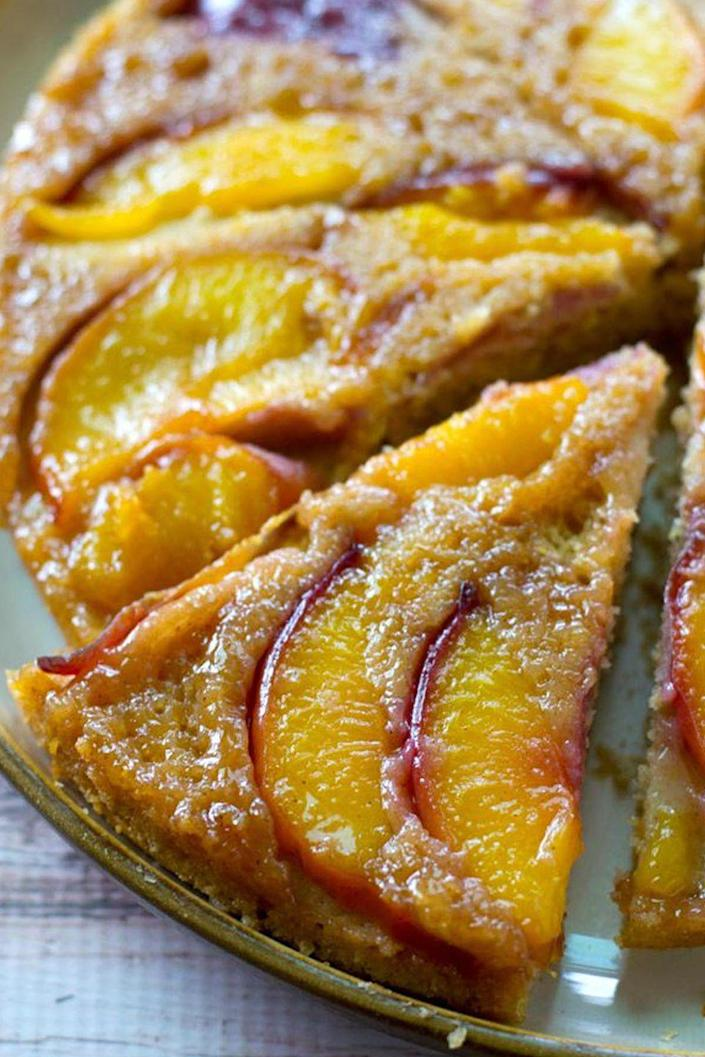 "<p>This retro dessert is guaranteed to be the hit of your next potluck.</p><p><strong>Get the recipe at <a href=""http://wholeandheavenlyoven.com/2015/08/10/summer-peach-upside-down-coffee-cake/"" rel=""nofollow noopener"" target=""_blank"" data-ylk=""slk:Whole and Heavenly Oven"" class=""link rapid-noclick-resp"">Whole and Heavenly Oven</a>.</strong></p>"