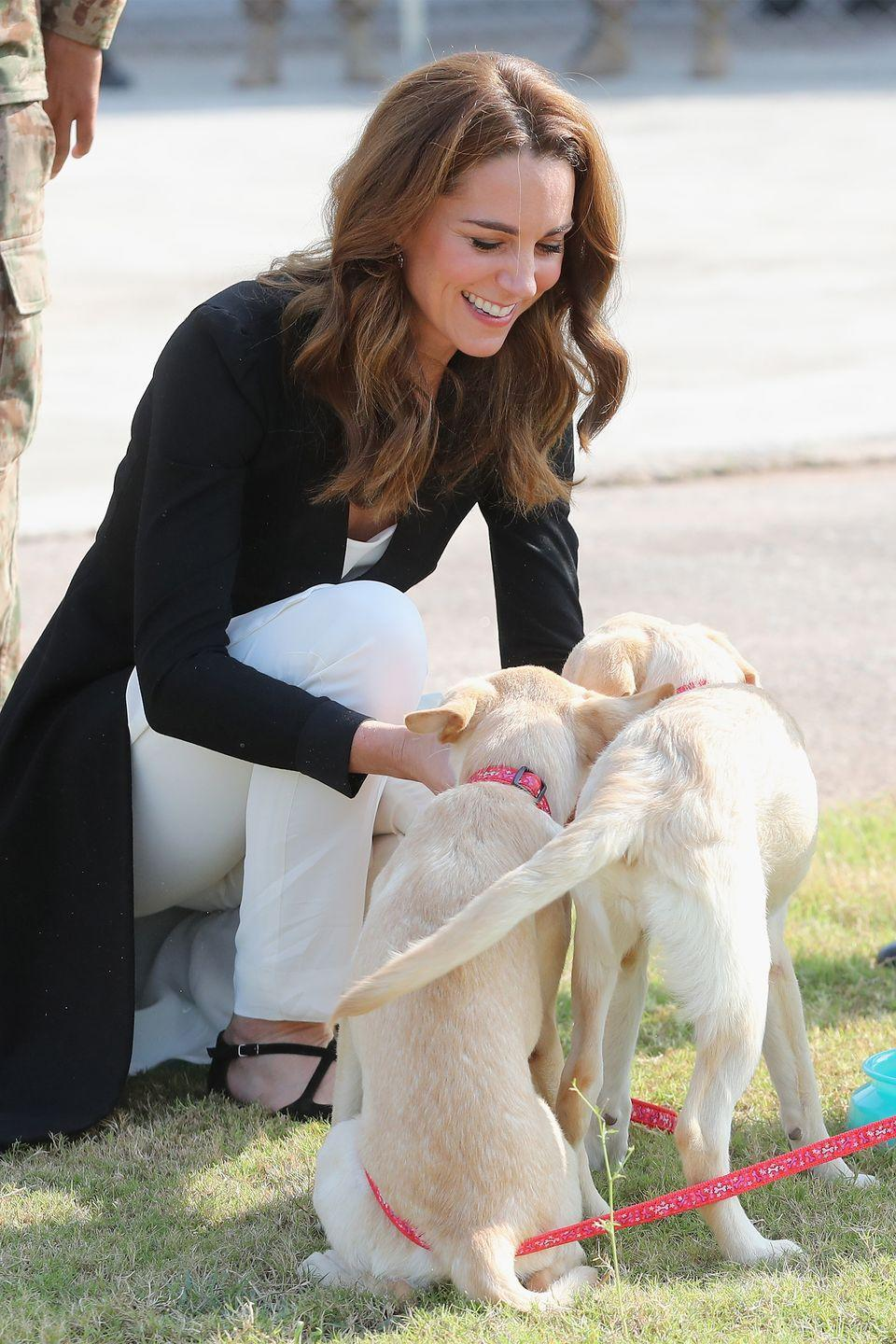 <p>The duchess stops to play with puppies at the Army Canine Centre in Islamabad, Pakistan.</p>