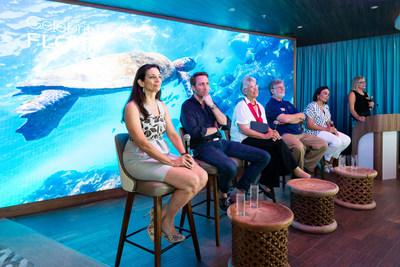Guests at the Celebrity Flora Naming Ceremony also enjoyed the chance to take part in a panel on sustainability and the uniqueness of the Galapagos Islands held in the ship's stunning Discovery Lounge. The panel was designed to raise awareness of the unique environmental aspects of the destination and highlight the sustainable firsts exclusive to Celebrity Flora. (From left to right: Francesca Bucci, President, BG Studio International; Philippe Cousteau. Jr., Co-Founder, EarthEcho International; Yolanda Kakabadse, environmental advocate and former World Wildlife Fund International President, plus Celebrity Flora Godmother; Peter B. Ortner, Research Professor, University of Miami, Rosenstiel School of Marine and Atmospheric Science; Adriana Hoyos, renowned Ecuadorian interior and furniture designer; and host Dr. Ellen Prager, marine scientist and regional destination expert)
