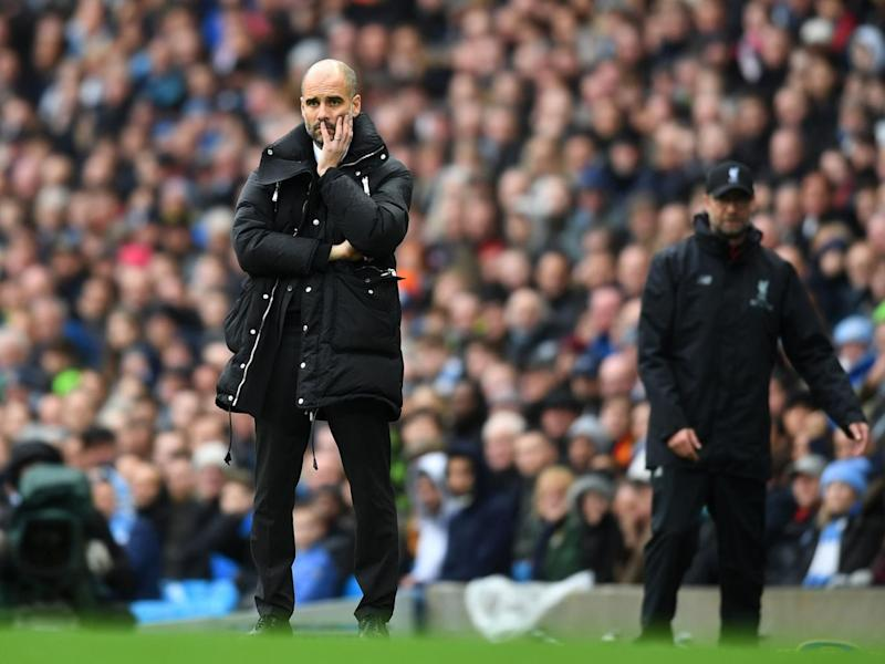 Guardiola has struggled to live up to the hype this season (Getty)