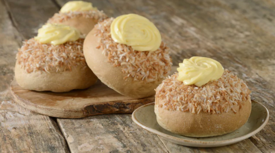 """<p>Known as Skolebrød in Norway, this sweet roll was introduced with the expansion of the Norway Pavilion at Epcot. You can find it and the Troll Horn at the <a href=""""https://disneyworld.disney.go.com/dining/epcot/kringla-bakeri-og-kafe/"""" rel=""""nofollow noopener"""" target=""""_blank"""" data-ylk=""""slk:Kringla Bakeri og Kafe"""" class=""""link rapid-noclick-resp"""">Kringla Bakeri og Kafe</a>. </p>"""