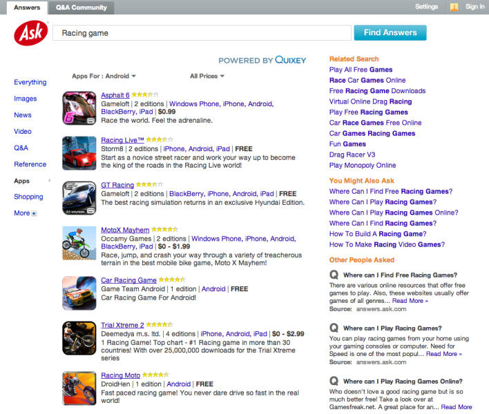 This image provided by Ask and Quixey shows the new Ask search engine feature the company created with the Silicon Valley startup Quixey. Quixey which has spent the past three years refining a technology to analyze the services offered through millions of applications designed for iPhones, iPads, Android gadgets, Windows devices and BlackBerrys. Now, the results from Quixey's database will appear among the answers that Ask delivers to questions posed on its search engine. The apps results primarily will be featured in a new section of Ask that is scheduled to debut at 8 p.m. ET Tuesday, Dec. 4, 2012. (AP Photo/Ask)