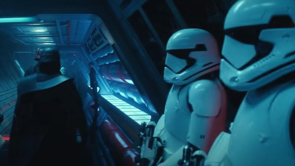 Karl Urban played one of the Stormtroopers in this scene from 'Star Wars: The Rise of Skywalker'. (Credit: Lucasfilm/Disney)
