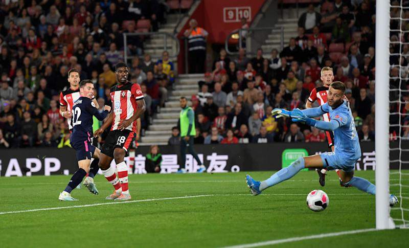 "Soccer Football - Premier League - Southampton v AFC Bournemouth - St Mary's Stadium, Southampton, Britain - September 20, 2019 Bournemouth's Harry Wilson scores their second goal Action Images via Reuters/Tony O'Brien EDITORIAL USE ONLY. No use with unauthorized audio, video, data, fixture lists, club/league logos or ""live"" services. Online in-match use limited to 75 images, no video emulation. No use in betting, games or single club/league/player publications. Please contact your account representative for further details."