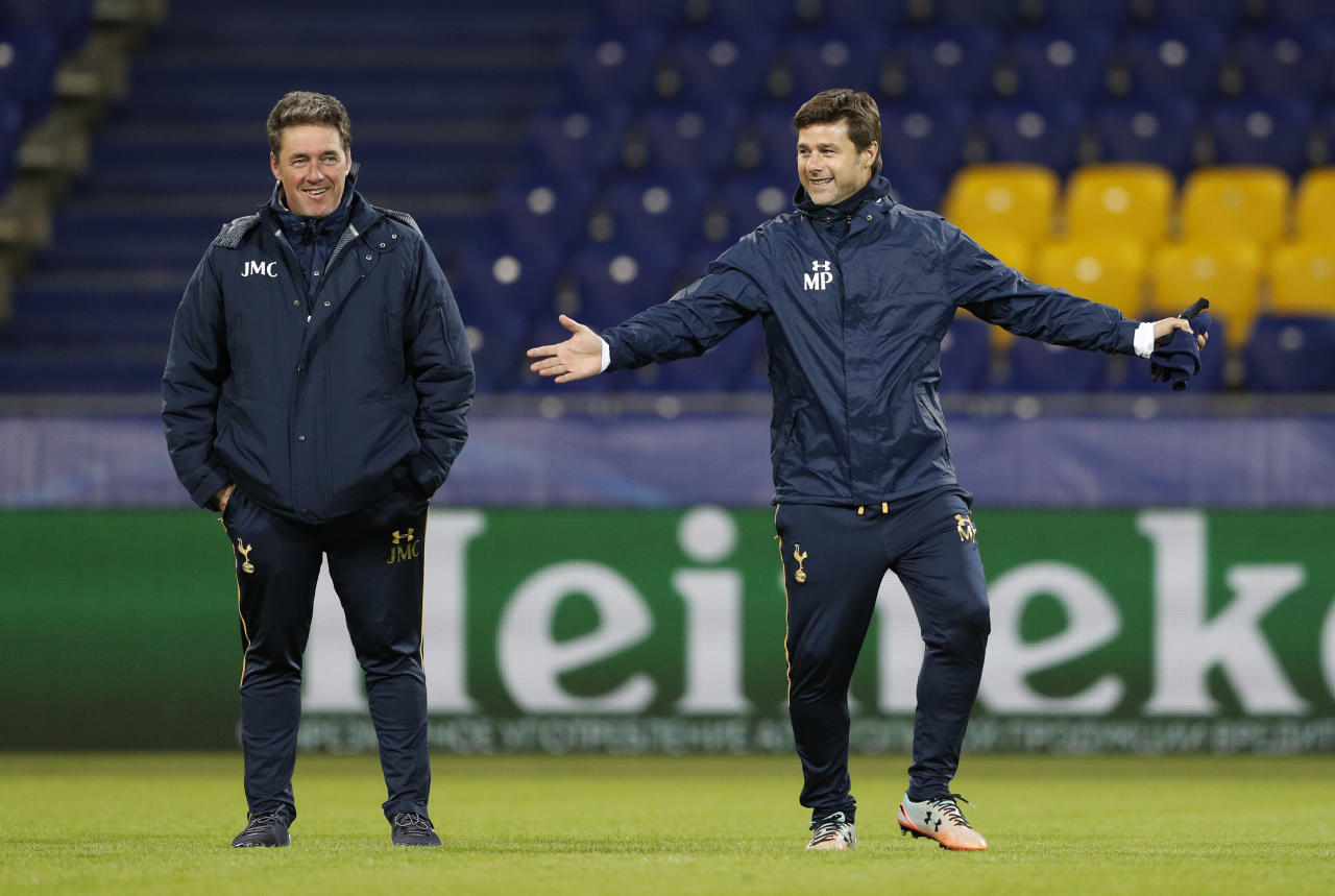 Football Soccer - Tottenham Hotspur Training - CSKA Stadium, Moscow, Russia - 26/9/16 Tottenham manager Mauricio Pochettino with head of coaching and development John McDermott during training Action Images via Reuters / John Sibley Livepic EDITORIAL USE ONLY.
