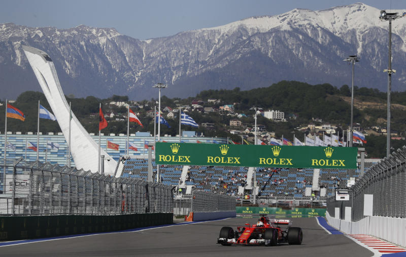 Ferrari driver Sebastian Vettel of Germany steers his car during the second free practice session ahead the Formula One Russian Grand Prix at the 'Sochi Autodrom' circuit, in Sochi, Russia, Friday, April. 28, 2017. The Russian Formula One Grand Prix will be held on Sunday April 30. (AP Photo/Pavel Golovkin)