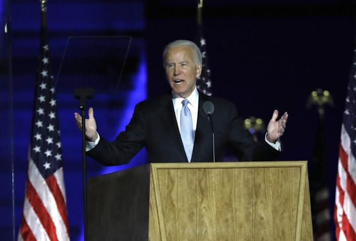 Wilmington, Pennsylvania-Nov. 7, 2020-President-elect Joe Biden addresses supporters at Chase Center in Wilmington, DE, on Nov, 7, 2020 after being named the winners. (Carolyn Cole / Los Angeles Times)