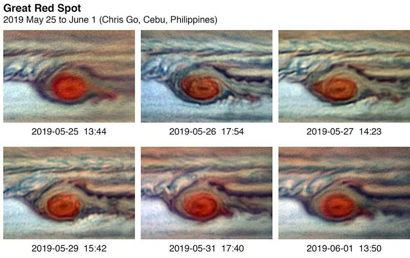 A (false color) series of images capturing the repeated flaking of red clouds from the GRS in the Spring of 2019. In the earliest image, the flaking is predominant on the east side of the giant red vortex. The flake then breaks off from the GRS, but a new flake starts to detach in the fifth image. Image credit: Chris Go