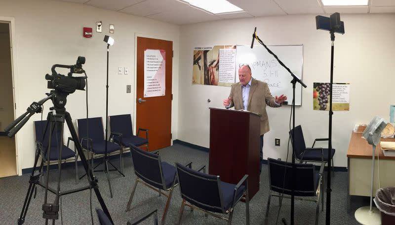 Stuart Houston of the Rock Springs Baptist Church teaches the weekly Sunday school lesson by live streaming