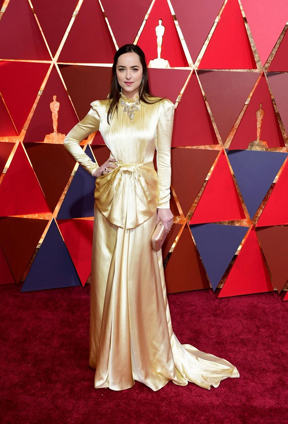 <p>We also all fell in love with the vintage vibe of Dakota's Gucci dress at The Oscars 2017. [Photo: PA] </p>