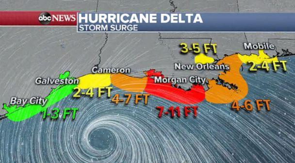 PHOTO: Hurricane Delta expected storm surge (ABC News)