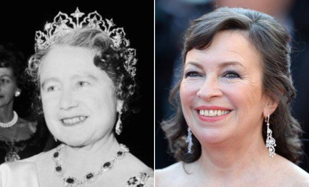 "Left: the Queen Mother at a performance at RADA in London in Nov. 1964. London, UK, November 1964. Right: Marion Bailey a the premiere of ""Mr. Turner"" on May 15, 2014."