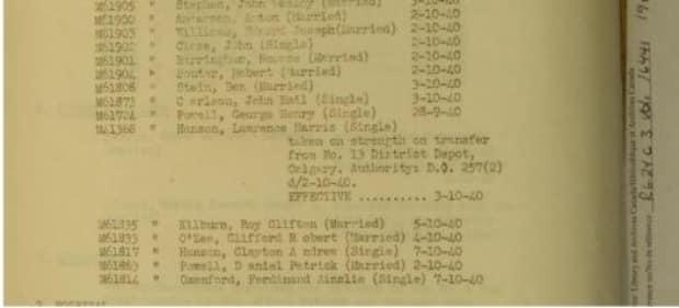 Military records indicate Oxenford  joined the Canadian Forestry Corps. in October 1940.
