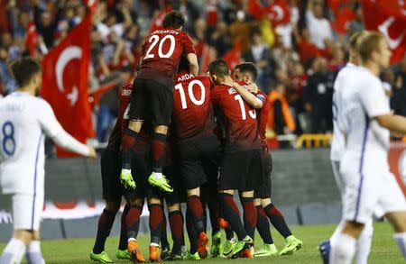 Football Soccer - Turkey v Finland - 2018 World Cup Qualifying European Zone - Antalya Arena, Antalya, Turkey - 24/3/17 Turkey's players celebrate their second goal against Finland. REUTERS/Murad Sezer