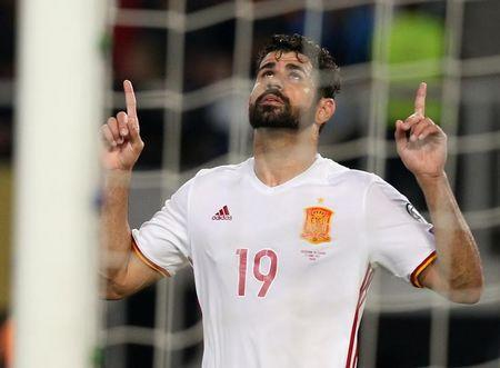 Football Soccer - FYR Macedonia v Spain - 2018 World Cup Qualifying European Zone - Group G - Philip II Arena, Skopje, FYR Macedonia - June 11, 2017   Spain's Diego Costa celebrates scoring their second goal    Reuters / Stoyan Nenov