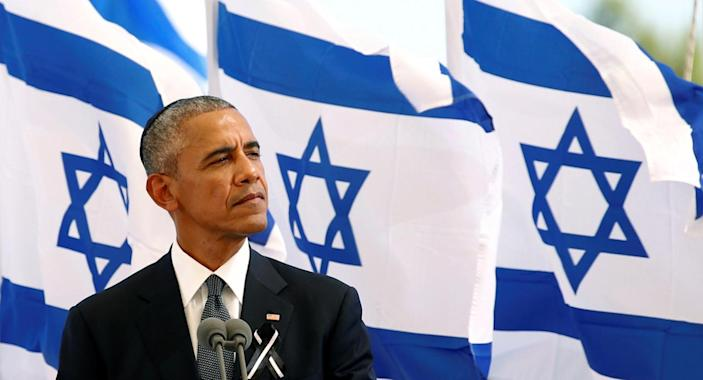 <p>U.S. President Barack Obama speaks at the funeral service of former Israeli President Shimon Peres at the Mount Herzl cemetery in Jerusalem, Sept. 30, 2016. (Photo: Kevin Lamarque/Reuters)</p>