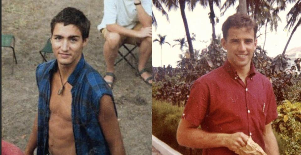 Image of young Justin Trudeau, young Joe Biden
