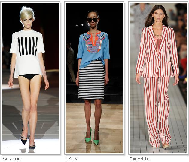 STRIPES, STRIPES, STRIPES Horizontal, vertical, pin-thin 'railroad' or bold bars; all manner of stripes streaked down the runway. In a deconstructivist twist, dresses at Alexander Wang featured 'cutout' stripes, with horizontal bands removed from the main body. Also seen at: Altuzarra, Marc Jacobs, Michael Kors, Oscar de la Renta, Tommy Hilfiger.