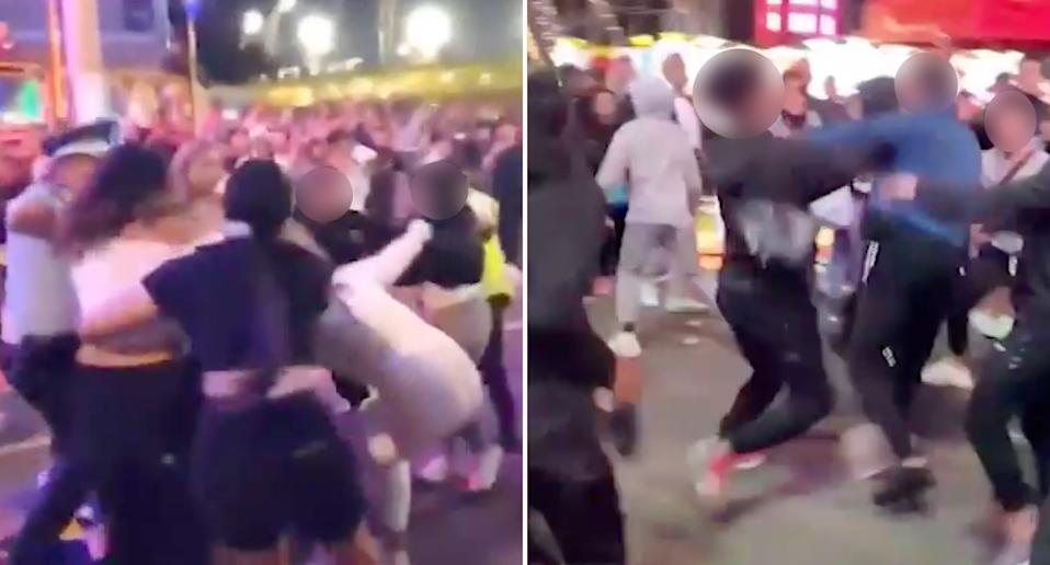 Stills from a large fight that happened at the Sydney Royal Easter Show.