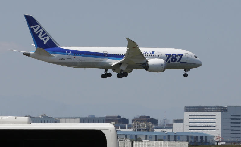 FILE - In this Sunday, April 28, 2013 file photo, a Boeing 787 Dreamliner of the All Nippon Airways prepares to land after a test flight at Haneda International Airport in Tokyo. United Airlines is getting its 787s back in the air. The planes are returning after being grounded for four months by the federal government because of smoldering batteries on 787s owned by other airlines. The incidents included an emergency landing of one plane, and a fire on another. The incidents never caused any serious injuries. But the January grounding embarrassed Boeing, which makes the 787, and disrupted schedules at the eight airlines that were flying the planes. United's first 787 flight was scheduled for 11 a.m. Monday, May 20, 2013 from Houston to Chicago. (AP Photo/Shizuo Kambayashi, File)