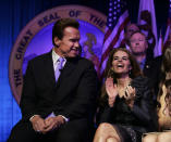 """FILE --In this Jan. 5, 2007 file photo, Maria Shriver, wife of then Gov. Arnold Schwarzenegger laughs during his second inauguration in Sacramento, Calif. In an interview with """"60 minutes"""" that is scheduled to air Sunday, Schwarzenegger says the affair he had with longtime housekeeper Mildred Baena, that led to a son, was """"the stupidest thing"""", he ever did to Shriver who filed for divorce last July.(AP Photo/Rich Pedroncelli, file)"""