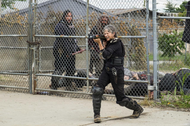 <p>Khary Payton as Ezekiel, Melissa McBride as Carol Peletier, and Cooper Andrews as Jerry in AMC's <i>The Walking Dead.><br> (Photo: Gene Page/AMC)</i> </p>