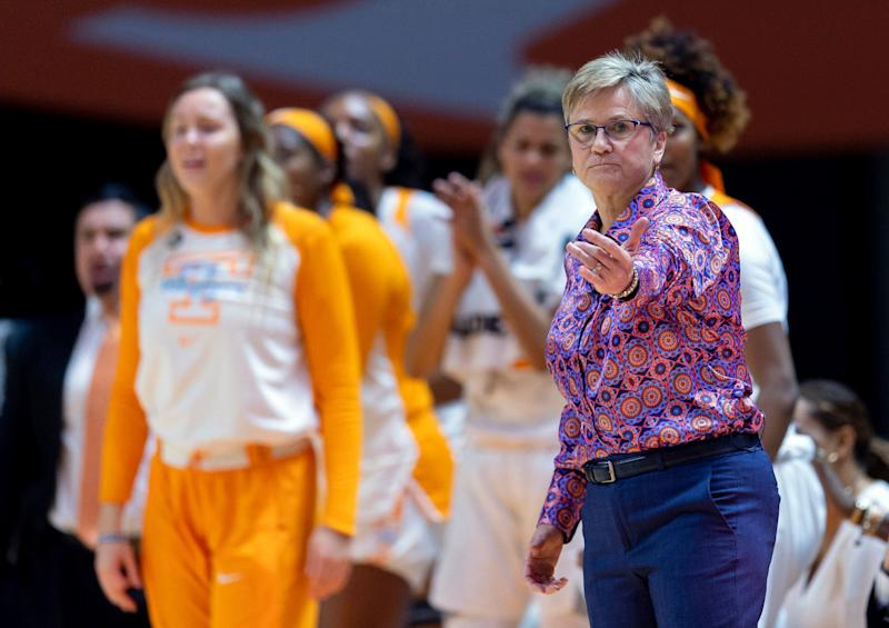 FILE - In this Jan. 10, 2019, file photo, Tennessee head coach Holly Warlick directs players on the court during an NCAA basketball game against Kentucky in Knoxville, Tenn. Tennessee was able to breathe a sigh of relief after receiving one of the last two at-large spots in this year's women's NCAA Tournament and remain the only women's basketball program to play in every tourney in the event's 38-year history. (AP Photo/Bryan Woolston,F ile)