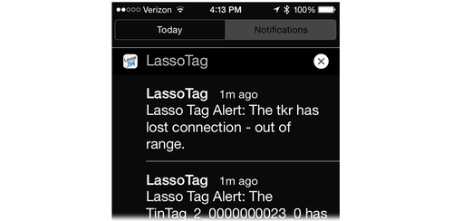 Bluetooth tracking app alert messages