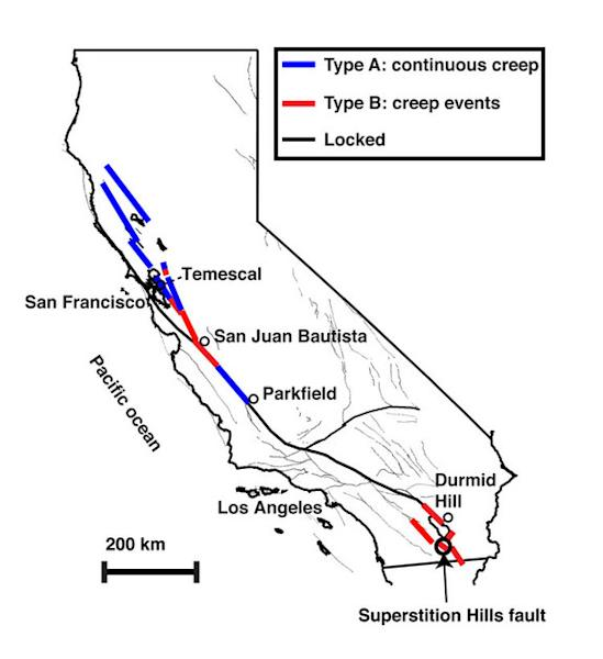 Map showing the creeping section of California's San Andreas fault. The creeping section moves with no large earthquakes.