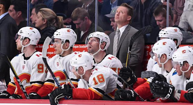 Glen Gulutzan was unhappy with the way the Flames were practicing on Friday and launched into an F-bomb-laden tirade. (Photo by Minas Panagiotakis/Getty Images)