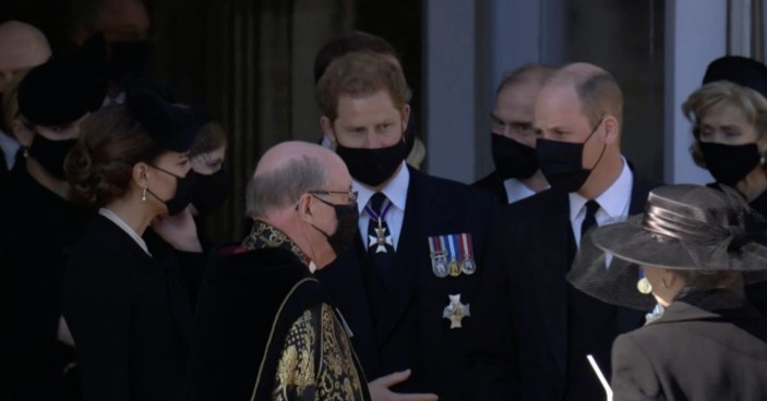Harry, William and Kate were spotted talking after the service. (BBC)