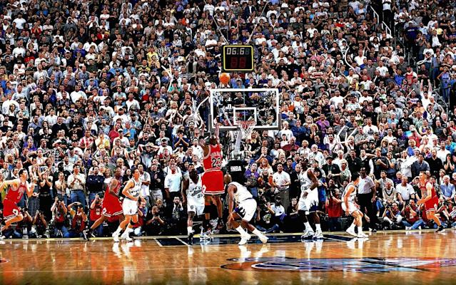 Chicago Bulls legend Michael Jordan made this shot to win the 1998 NBA Finals against the Utah Jazz. (Getty Images)