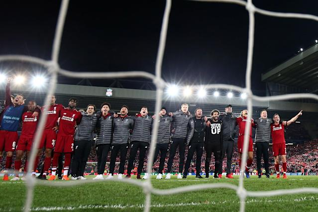 Liverpool players celebrate following their sides victory in the UEFA Champions League Semi Final second leg match between Liverpool and Barcelona at Anfield on May 07, 2019 in Liverpool, England. (Photo by Clive Brunskill/Getty Images)