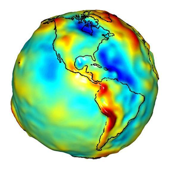 This gravity model of Earth reflects density differences in the mantle and crust.