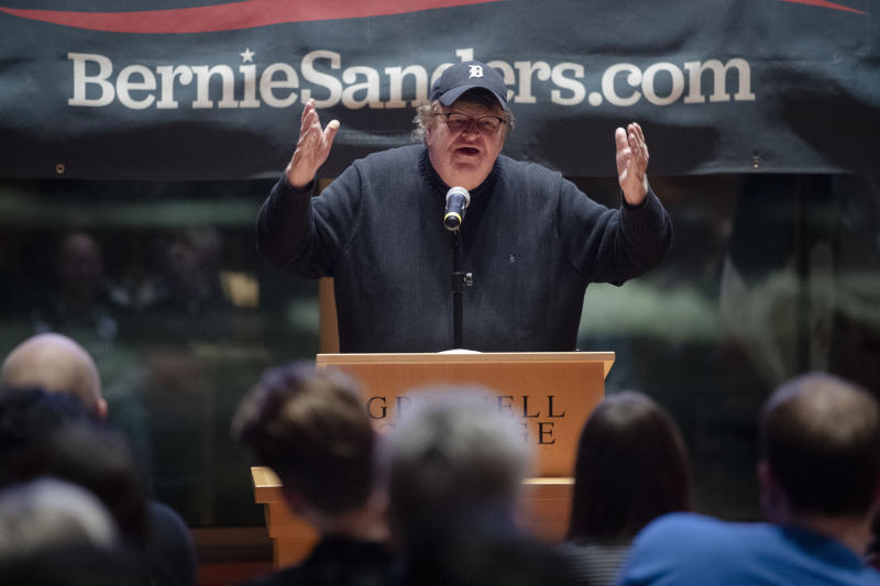 Filmmaker Michael Moore speaks during a campaign event at Grinnell College for Democratic presidential candidate Sen. Bernie Sanders, I-Vt., Thursday, Jan. 23, 2020, in Grinnell, Iowa. (Photo: Matt Rourke/AP)
