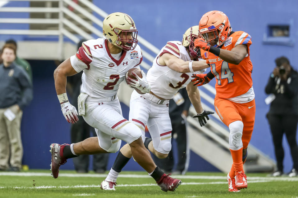 This run by Boston College's AJ Dillon in the First Responder Bowl happened but won't officially count after the game was canceled (Getty)