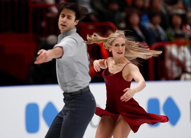Figure Skating - World Figure Skating Championships - The Mediolanum Forum, Milan, Italy - March 24, 2018 Canada's Kaitlyn Weaver and Andrew Poje during the Ice Dance Free Dance REUTERS/Alessandro Garofalo