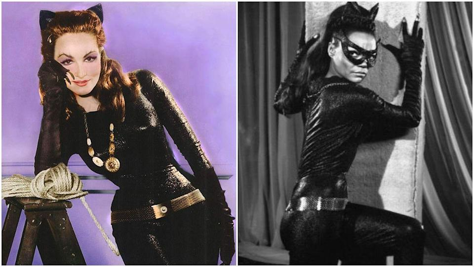 """<p>When Julie Newmar ditched her iconic Catwoman costume to pursue a movie role, Eartha Kitt was hired and claws-out <em>nailed it</em>. """"That character to me was so much fun,"""" Eartha <a href=""""https://shadowandact.com/halle-berrys-catwoman-is-12-years-old-today-but-eartha-kitts-is-the-greatest-of-them-all/"""" rel=""""nofollow noopener"""" target=""""_blank"""" data-ylk=""""slk:said"""" class=""""link rapid-noclick-resp"""">said</a>. """"I was in dire need of tremendous help at that time, and like a starving cat, I had to find a way to survive....People recognized my name and still do because of <em>Catwoman</em>.""""</p>"""