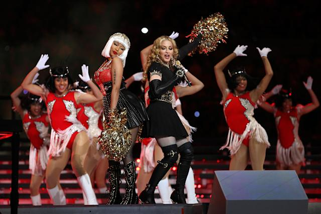 2012: Madonna with special guest Nicki Minaj. (Photo by Al Bello/Getty Images)