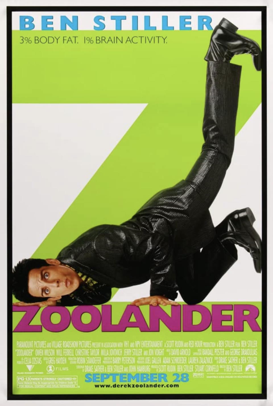 """<p>The inventor of the """"Blue Steel"""", Derek Zoolander (Ben Stiller) is a veteran fashion model who loses the title of Male Model of the Year to none other than Hansel (Owen Wilson). In a crazy turn of events, Derek is brainwashed by fashion designer Jacobim (Will Ferrell) to assassinate Malaysia's prime minister. We know it sounds crazy, but it's the type of movie that will have you laughing every time, no matter how many times you've seen it. Stiller also directed this cult classic, which was released on September 28, 2001. </p>"""
