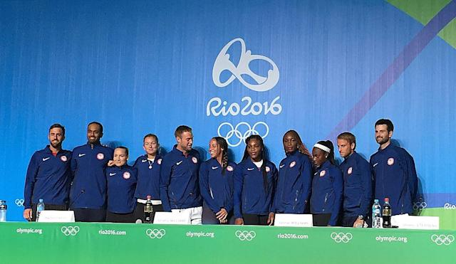 Team USA, from left to right: Steve Johnson, Rajeev Ram, Bethanie Mattek-Sands, Coco Vandeweghe, Jack Sock, Madison Keys, Serena Williams, Venus Williams, Sloane Stephens, Denis Kudla, Bryan Baker.