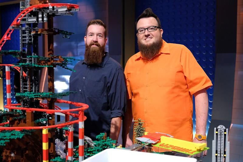 Contestants Mark (left) and Boone with Timber Town.   Ray Mickshaw/FOX