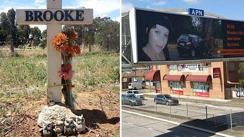 The roadside memorial for Brooke (left) and a billboard for Brooke's Don't-Text-And-Drive campaign