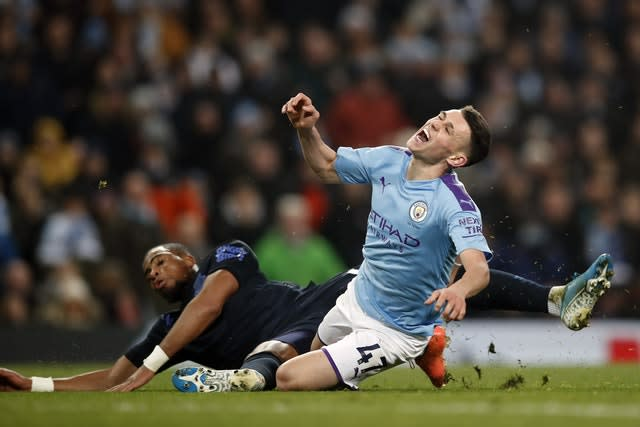 Phil Foden had a goal ruled out (Martin Rickett/PA)