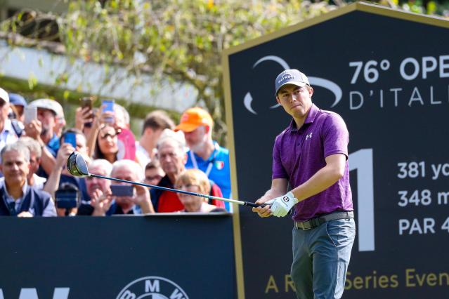 Britain's Matthew Fitzpatrick in action during the third day of the Golf Italian Open 2019, in Rome, Saturday, Oct. 12, 2019. (Giorgio Maiozzi/ANSA via AP)