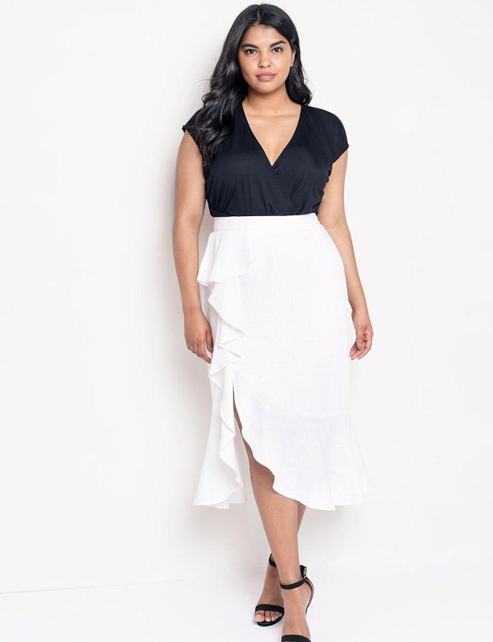 """Eloquii — our go-to plus-size retailer — doesn't disappoint on the flax front, with a host of summer-ready separates rendered in our favorite fiber. We're particularly partial to the swingy spirit of this ruffled wrap-effect skirt. <br><br><em>Shop linen at <strong><a href=""""https://www.eloquii.com/on/demandware.store/Sites-eloquii-Site/default/Search-Show?q=linen&suggest_search="""" rel=""""nofollow noopener"""" target=""""_blank"""" data-ylk=""""slk:Eloquii"""" class=""""link rapid-noclick-resp"""">Eloquii</a></strong></em><br><br><strong>Eloquii</strong> Cascade Ruffle Skirt with Slit, $, available at <a href=""""https://go.skimresources.com/?id=30283X879131&url=https%3A%2F%2Fwww.eloquii.com%2Fcascade-ruffle-skirt-with-slit%2F1206042.html%3Fdwvar_1206042_colorCode%3D1"""" rel=""""nofollow noopener"""" target=""""_blank"""" data-ylk=""""slk:Eloquii"""" class=""""link rapid-noclick-resp"""">Eloquii</a><br><br>"""