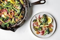"""Chances are you're trimming off and discarding way too much of your broccoli stems. The stems are so flavorful, they should be their own vegetable. Here, anchovies add a big boost of umami to the lightly browned broccoli. It's technically a side dish, but we'd happily eat it for dinner. <a href=""""https://www.epicurious.com/recipes/food/views/big-flavor-broccoli?mbid=synd_yahoo_rss"""" rel=""""nofollow noopener"""" target=""""_blank"""" data-ylk=""""slk:See recipe."""" class=""""link rapid-noclick-resp"""">See recipe.</a>"""