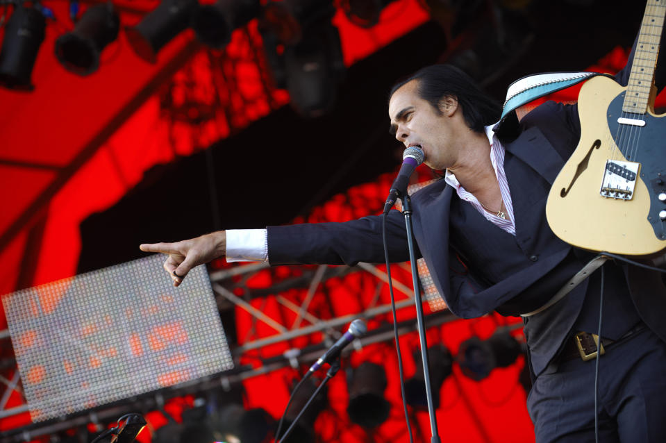 Australian Nick Cave & The Bad Seeds, perform, at the Roskilde Festival in Roskilde, Denmark, Friday, July 3, 2009. The Roskilde Festival opened Thursday. Around 75,000 guests will be listening to the 151 bands playing until Sunday evening. (AP Photo/ Tariq Mikkel Khan, Polfoto) **  DENMARK OUT  **