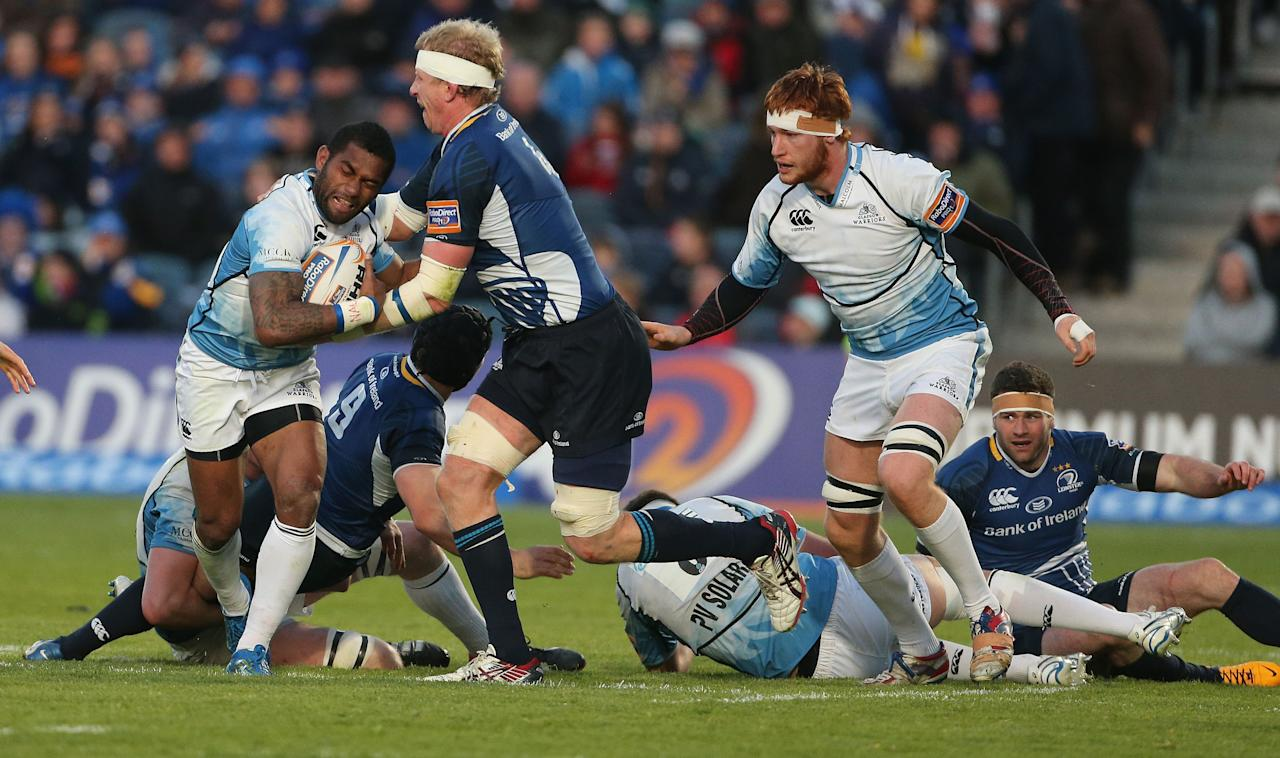 Leinster's Leo Cullen and Glasgow Warriors' Nikola Matawalu during the Rabo Direct PRO12 Playoff match at the RDS, Dublin.